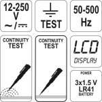 digital tester 12-250V YATO