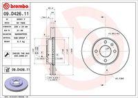 BREMBO  Piduriketas COATED DISC LINE 09.D426.11